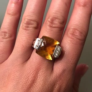 DAVID YURMAN YELLOW CITRINE STONE WITH DIANONDS